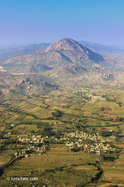 View from Nandi hills...You an see the typical Karnataka villages in the image too....